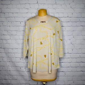 Susan Graver Plus Size 1X Gold Chain Top